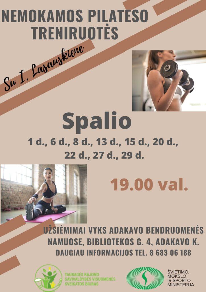 """""""Pilateso-kalanetikos treniruotės"""" Adakavo bendruomenėje 2020-10"""